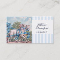 Vintage Lambs in Blue Ribbons on Stripes Business Card