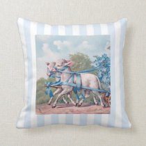 Vintage Lambs in Blue Ribbons on Stripes Throw Pillow