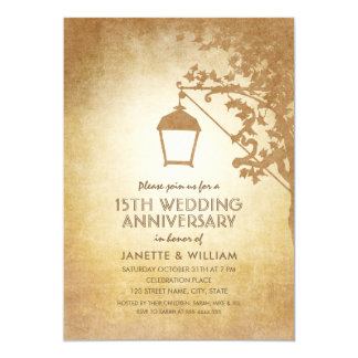 Vintage Lamp 15th Wedding Anniversary Rustic Fall Card