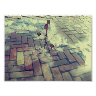 Vintage lamp post Europe reflection Poster