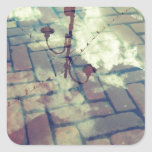 Vintage lamp post Europe reflection Square Sticker