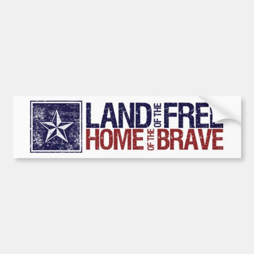 Vintage Land of the Free Star – 4th of July Car Bumper Sticker