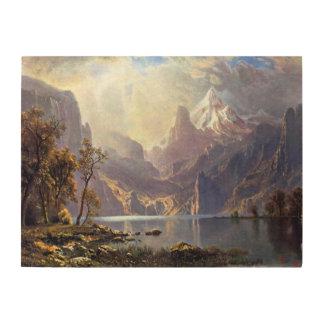 Vintage Landscape, Lake Tahoe by Albert Bierstadt Wood Print