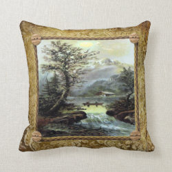 Vintage Landscape Throw Pillow