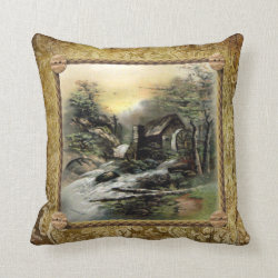 Vintage Landscape on a Grunge Brocade Background Throw Pillow