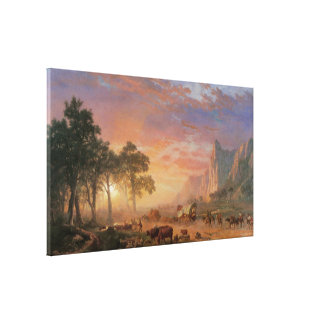 Vintage Landscape, Oregon Trail by Bierstadt Canvas Print