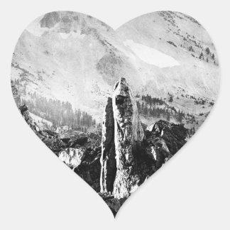 Vintage Landscape Photo Heart Sticker