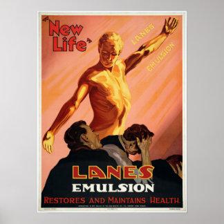 Vintage Lanes Emulsion Health Advertisement Poster