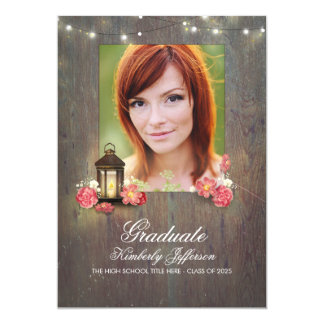Vintage Lantern and Rustic Wood Photo Graduation Card