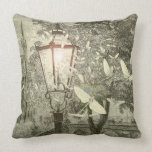 Vintage Lantern Fireflies Dragonflies Pillow