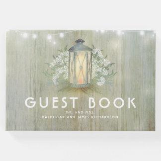 Vintage Lantern Lights Rustic Floral Baby's Breath Guest Book