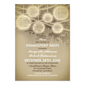 vintage lanterns engagement party invitations