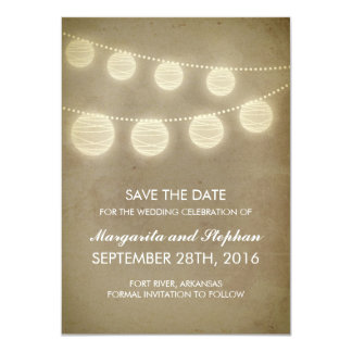 vintage lanterns rustic save the date cards