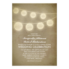 vintage lanterns rustic wedding invitation