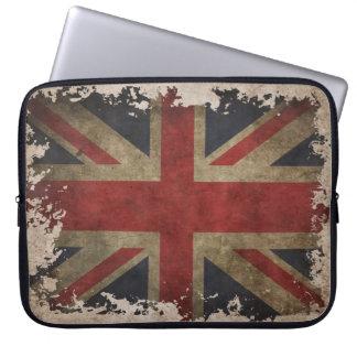 Vintage laptop case with UK flag Computer Sleeve