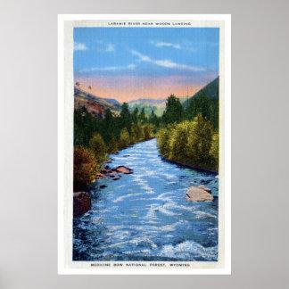 Vintage Laramie River Woods Landing WY Print