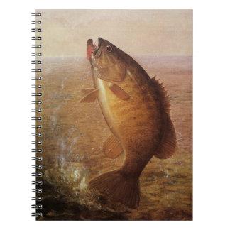 Vintage Largemouth Brown Bass Fish, Sports Fishing Spiral Notebook