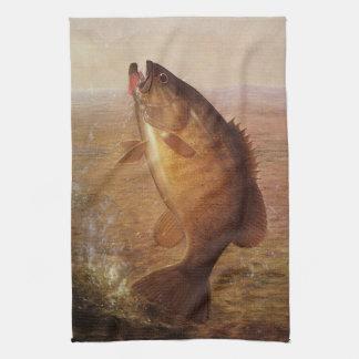 Vintage Largemouth Brown Bass, Sports Lake Fishing Towel