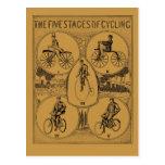 Vintage las cinco etapas del ciclo tarjeta postal