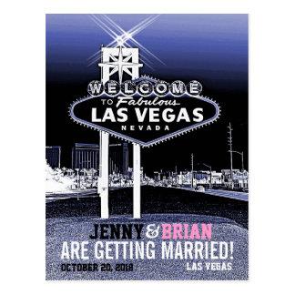 Vintage Las Vegas azul que casa reserva la fecha Tarjeta Postal