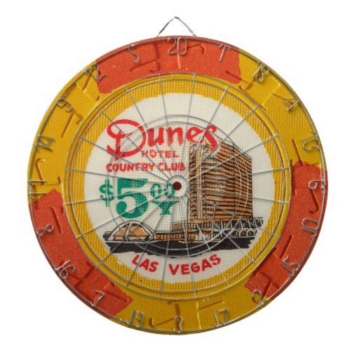 Vintage Las Vegas Dunes Casino Poker Chip Game Dartboard With Darts