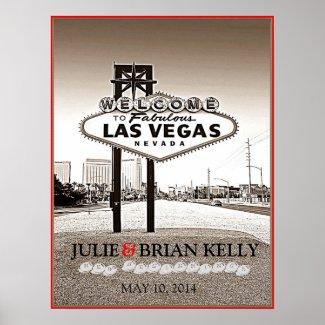 Vintage Las Vegas Wedding Guest Book Poster