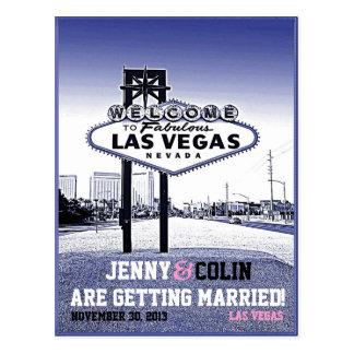 Vintage Las Vegas Wedding Photo Save The Date Postcard