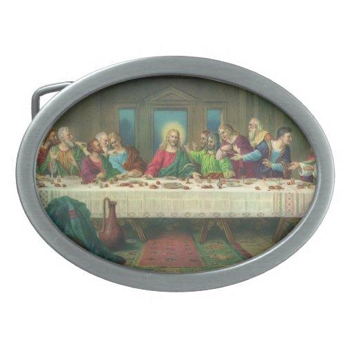Vintage Last Supper with Jesus Christ and Apostles Oval Belt Buckle