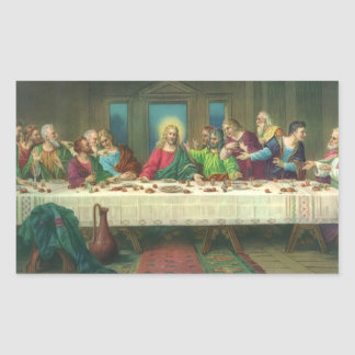 Vintage Last Supper with Jesus Christ and Apostles Rectangle Stickers