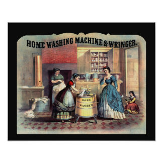 Vintage Late 1800's Women & Washing Machine Scene Poster