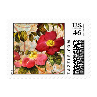 Vintage Late Summer Roses Collage Art Postage