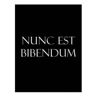 Vintage Latin Nunc Est Bibendum Drinking Quote Postcard