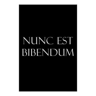 Vintage Latin Nunc Est Bibendum Drinking Quote Print