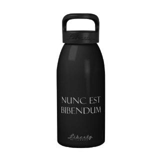 Vintage Latin Nunc Est Bibendum Drinking Quote Reusable Water Bottle
