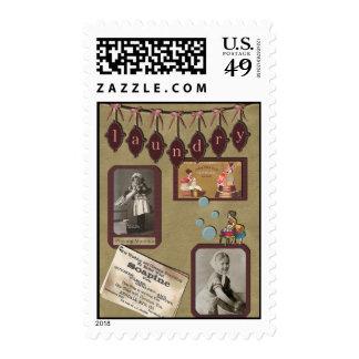 "Vintage ""Laundry"" Scrapbook Postage Stamp"
