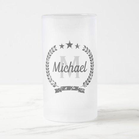 Vintage laurel crest name monogram frosted glass beer mug
