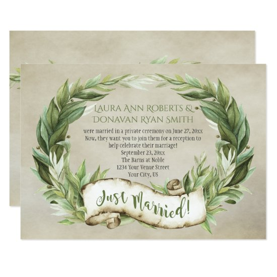 Vintage Laurel Wreath Banner Reception Only Invitation