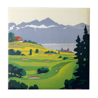 Vintage Lausanne Switzerland Golf Travel Tile