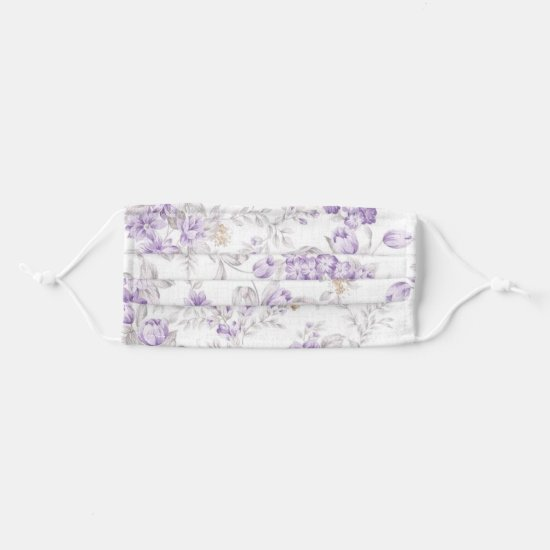Vintage Lavender and Purple Flowers Pattern Cloth Face Mask