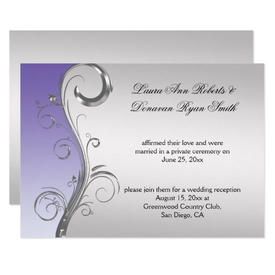 Vintage Lavender and Silver Ornate Post Wedding Invitation