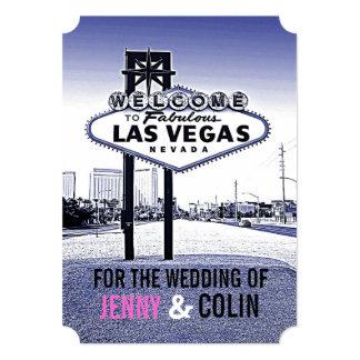 Vintage Lavender Blue Las Vegas Wedding Invites