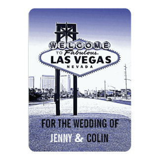 Vintage Lavender Blue Las Vegas Wedding Invites