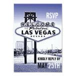 Vintage Lavender Blue Las Vegas Wedding RSVP Card