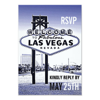 "Vintage Lavender Blue Las Vegas Wedding RSVP 3.5"" X 5"" Invitation Card"