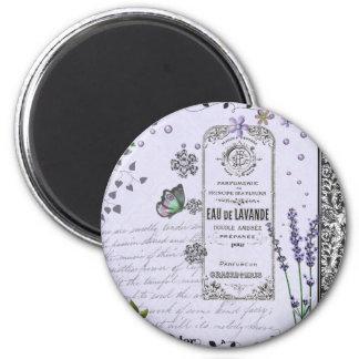 Vintage Lavender Collage 2 Inch Round Magnet