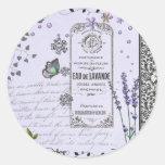 Vintage Lavender Collage Round Sticker