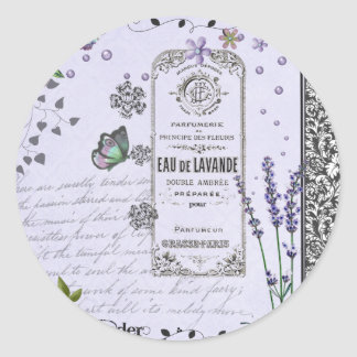 Vintage Lavender Collage Classic Round Sticker