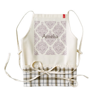 Vintage, lavender,damask,trendy,girly,cute,chic, zazzle HEART apron