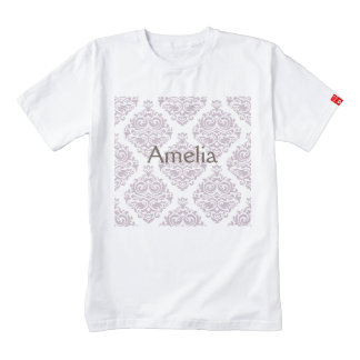 Vintage, lavender,damask,trendy,girly,cute,chic, zazzle HEART T-Shirt