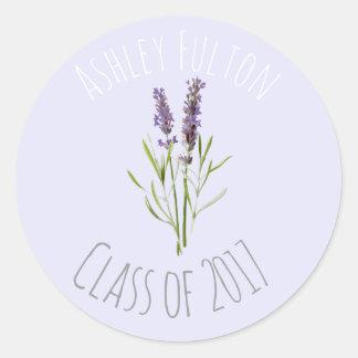 Vintage Lavender for graduations  2017 Classic Round Sticker